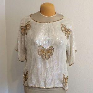 Vintage 20s style Sequin blouse, Medium